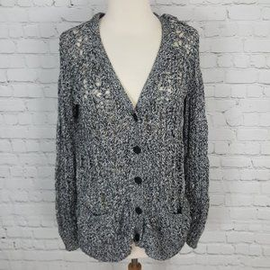 Elizabeth and James Gray Knit Cardigan Sweater XS